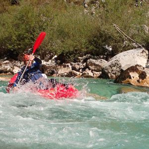 Whitewater kayaking on the Soča river